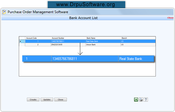 Screenshots of purchase order business software maintain